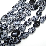 1 Strand of Semiprecious Gemstone Large Nugget Beads - Snowflake Obsidian