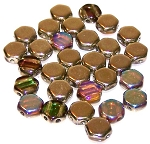 30 Czech Glass 6mm Honeycomb Hex 2-Hole Beads - Topaz Gold Rainbow