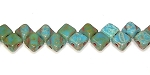 40 Czech Glass Silky 2-Hole 6mm Beads - Turquois Blue Picasso