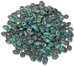 7.5 Grams of MiniDuo Czech Glass Beads - Turquoise Bronze Picasso
