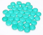 25 Candy 2 Hole 8mm Czech Glass Beads - Turquoise Green