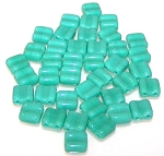 40 Grooved Tile 2-Hole Czech Glass Groovy Beads - Turquoise Green Opaque