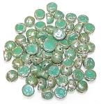 7.5 Grams of 6mm Czech Glass 2-Hole Cabochon Beads - Green Turquoise Picasso