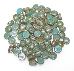 7.5 Grams of 6mm Czech Glass 2-Hole Cabochon Beads - Turquoise Picasso