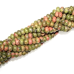 1 Dozen Unakite 8x5mm Puff Rondelle Semiprecious Gemstone Beads