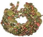Unakite Semiprecious Gemstone Beads - 12 Strand Set