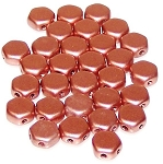30 Czech Glass 6mm Honeycomb Hex 2-Hole Beads - Vintage Copper