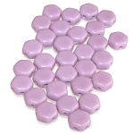 30 Czech Glass 6mm Honeycomb Hex 2-Hole Beads - Violet