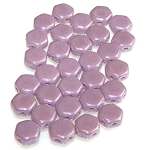 30 Czech Glass 6mm Honeycomb Hex 2-Hole Beads - Violet Luster