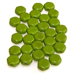 30 Czech Glass 6mm Honeycomb Hex 2-Hole Beads - Wasabi