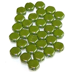 30 Czech Glass 6mm Honeycomb Hex 2-Hole Beads - Wasabi Luster