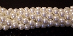 1 Strand of Czech Glass 8mm Pearl Beads - White