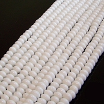 1 Strand of 8x5mm Puff Rondelle Semiprecious Gemstone Beads - White Agate