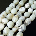 1 Strand of Semiprecious Gemstone Large Nugget Beads - White Banded Agate