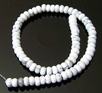 1 Strand of 8x5mm Puff Rondelle Semiprecious Gemstone Beads - White Howlite