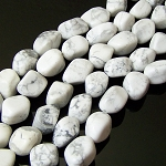 1 Strand of Semiprecious Gemstone Large Nugget Beads - White Howlite