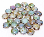 25 Candy 2 Hole 8mm Czech Glass Beads - White Travertine Blue
