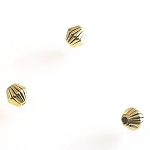 100 Antique Gold 4mm Corrugated Bicone Metal Spacer Beads