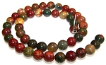 1 Strand of 8mm Round Semiprecious Gemstone Beads - Red Creek Jasper