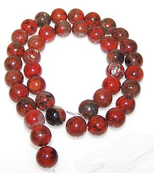 1 Dozen Brecciated Jasper 10mm Round Semiprecious Gemstone Beads