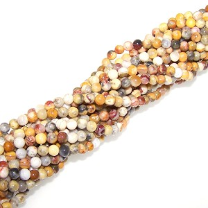 1 Strand of 4mm Round Semiprecious Gemstone Beads - Crazy Lace Agate
