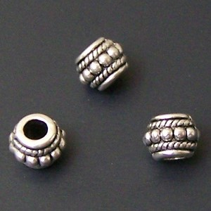 10 Antique Silver-Plated 6x8mm Beaded Spacers
