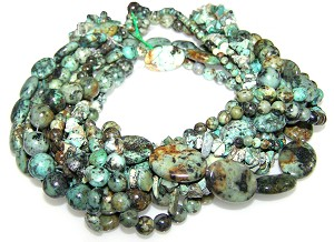African Turquoise Semiprecious Gemstone Beads - 9 Strand Set