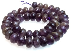 1 Dozen Amethyst 12x8mm Puff Rondelle Semiprecious Gemstone Beads