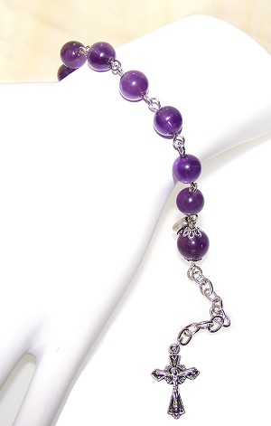 Amethyst Beaded Rosary Bracelet Making Kit