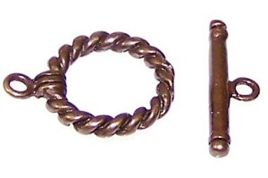 10 Antique Bronze 15mm Thick Rope Toggle Clasps