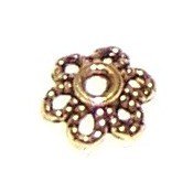 100 Antique Gold-Plated 2x6mm 6-Point Flower Bead Caps