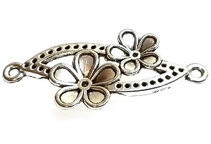 5 Antique Silver-Plated 18x37mm Double Flower Connectors