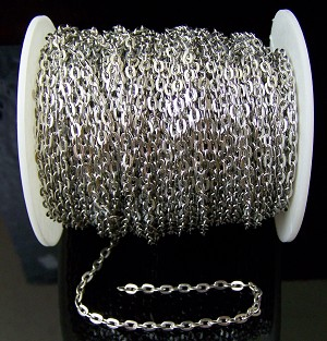 16 Ft (5 meters) of Antique Silver-Plated Cable Chain 5x3mm
