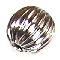 25 Antique Silver-Plated 8mm Ridged Round Beads
