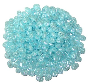 7.5 Grams - Superduo Beads - Opal Aqua White Luster