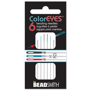 1 Pack of 6 Assorted Size Color Eyes Beading Needles