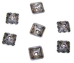 25 Antique Silver-Plated 5x10mm Square Bead Caps