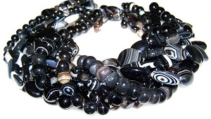 Black Striped Agate Semiprecious Gemstone Beads - 9 Strand Set