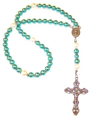 Cerulean Glass Pearl Beaded Rosary Making Kit