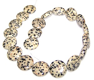 1 Strand of 20mm Puff Coin Semiprecious Gemstone Beads - Dalmatian Jasper