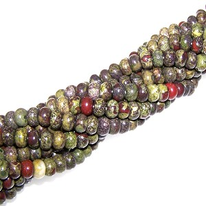 1 Strand of 8x5mm Puff Rondelle Semiprecious Gemstone Beads - Dragon Blood Jasper