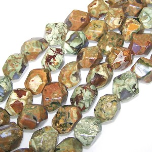 1 Strand of Semiprecious Gemstone Large Nugget Beads - Faceted Rhyolite