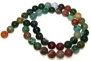 1 Dozen 8mm Round Semiprecious Gemstone Beads - Fancy Jasper