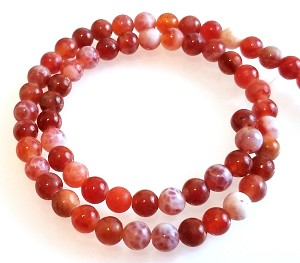 1 Strand of 6mm Round Semiprecious Gemstone Beads - Fire Agate