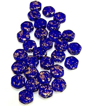 30 Czech Glass 6mm Honeycomb Hex 2-Hole Beads - Gold Splash Cobalt Transparent