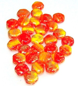 30 Czech Glass 6mm Honeycomb Hex 2-Hole Beads - Gold Splash Orange