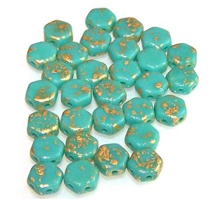30 Czech Glass 6mm Honeycomb Hex 2-Hole Beads - Gold Splash Turquoise Green