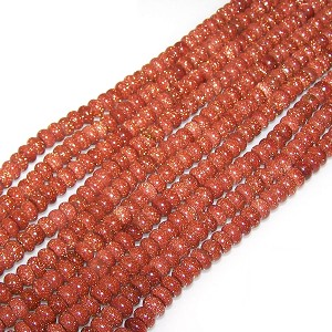 1 Dozen Goldstone 8x5mm Puff Rondelle Semiprecious Gemstone Beads