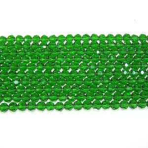1 Strand of 6mm Glass Crystal Rounds - Emerald