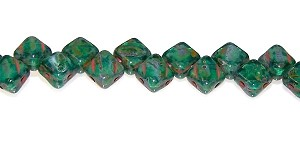 40 Czech Glass Silky 2-Hole 6mm Beads - Green Zircon Travertine